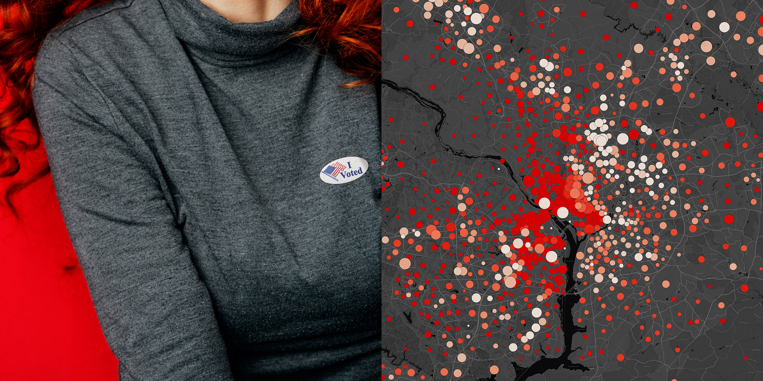 A map shows where the voting age population of Millennials can affect the outcome of a presidential election