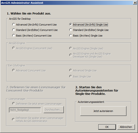 Lizenzauswahl Single Use